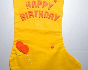 Ylw birthday stocking w_neon orange letters