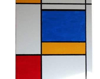Mondrian 1 - 12 inch by 16 inch - A Mondrian style painting, finished product, acrylic on canvas, Piet Mondrian