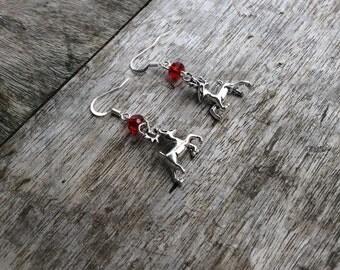 Christmas earrings, Christmas reindeer earrings, Festive earrings, silver 3D reindeer, red faceted rondelle bead.