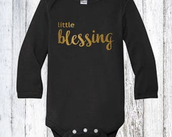Little Blessing Baby Bodysuit Long Sleeve, Turkey, gobble, Feast, Thanksgiving, Grateful, Blessed, Gratitude, Boy, Girl