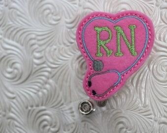 RN badge holder - planner clip - nursing badge holder - paper clip  - badge reel - name badge holder - felt badge reel - nurse badge