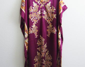 Purple Eastern Caftan Plus Size Plum and Gold XL Gown