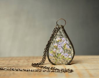 large pendant, bridal shower gift, preserved flower jewelry, Art Nouveau Wedding, glass pendant, flower necklace, terrarium jewelry