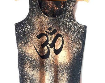 Om Yoga T-Shirt Hand Painted Unisex Top Bleach Dyed Batik Yoga Top Unisex Workout Top Reverse Dyed Fitness Clothes Zen T-Shirts