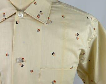 Vintage 1960s Deadstock Short Sleeve Spot Circle Design Shirt by Fleetline Size  Large