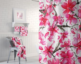 Beautiful Shower, Cherry Blossoms, Floral Bath Curtain, Bathroom Set, Pink Flowers, Watercolor Curtain, Flowers