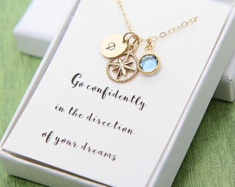 Compass Necklace, Gold Compass Necklace, High School Graduation Gift for Her, College Graduation, Personalized Graduation, Go Confidently