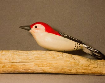 Red Bellied Woodpecker - sitting. Handcrafted wooden bird, painted bird, home decor, table  decor, Made in USA