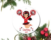 Cheerleader Ornament, Little Girl Ornament, Cheerleading Ornament, Personalized Cheerleading Ornament, Ceramic Cheer Ornament, Cheer Gift