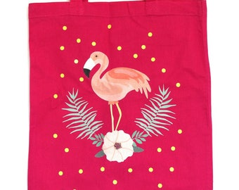 Tote bag pink Flamingo and flower