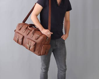 The Vagabond Duffel: vintage style brown leather holdall duffle gym weekend bag luggage unisex mens personalized flight carry on cabin