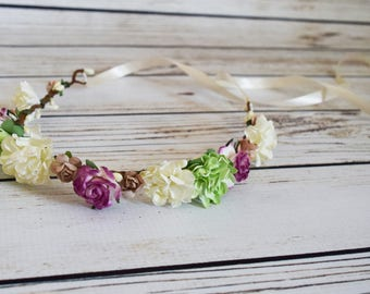 Handcrafted Ivory Fuchsia Purple Tan and Green Flower Crown - Fall Flower Crown - Adult Flower Crown - Toddler Flower Crown - Christmas Bow