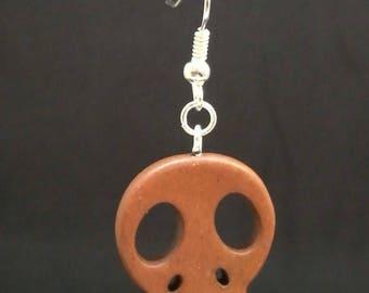 Brown howlite skull earrings
