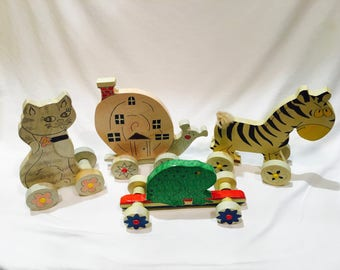 4 Vintage pull toys, Vintage toys, Vintage wooden pull toy, Nursery decor, Old wood play toy, Vintage pull toy, Vintage toddler toy