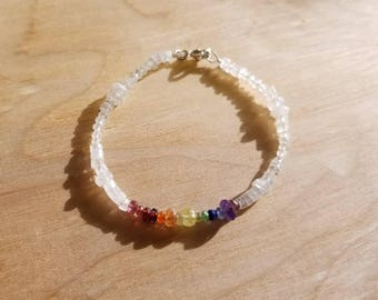 Rainbow Celestial Moonstone Goddess Crystal Gemstone Sterling Silver Bracelet