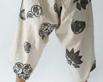 HC0418  Samurai Pants, Samurai Pants (Unisex) Elastic Waist ,Wrap pants