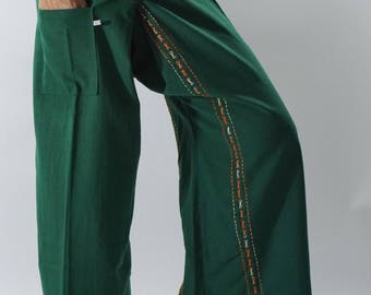 F80066 Hand stitch Unisex Thai fisherman pants, stitch Inseam design for Thai Fisherman Pants Wide Leg pants, Wrap pants