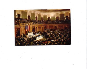 1950s Vintage Color Photo Postcard of Joint Session of U.S. Congress, Unposted, Vintage Postcard, Ephemera, Washington Postcard, Mirro Krome