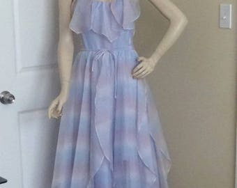 1970s Vintage Rainbow Prom or Party Dress, New Leaf by Samir, Sheer Organza, Tulip Styling, Spaghetti Straps, Vintage Clothing, Size 8-10