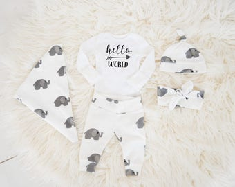 Gender Neutral Coming Home Outfit Baby Boy Baby Girl Coming Home Outfit: Organic Cotton Elephant Pants, Knot Hat, Hello, World Name Bodysuit