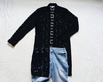 Black lace cardigan | see through black floral lace flowy bohemian cardigan