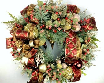 Large Elegant Christmas Wreath, Red and Gold Wreath, Holiday Wreath, Door Wreath, Christmas Decoration, Iced Berries, Frosted, Large Wreath