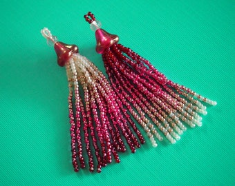 juicy raspberry ombre seed bead tassels, two ways! Czech glass bell flower & Toho beaded tassels for jewelry making or purchase as earrings