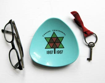 1867 1967 Canada Centennial Dish - Vintage Turquoise Melamine - Mid Century Modern Home Decor - Cyanamid of Canada Souvenir - Trinket Bowl