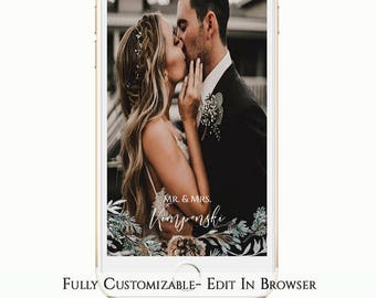 Winter Wedding Snapchat Geofliter, Greenery Snapchat Filter, Mr. and Mrs., Christmas snapchat, Branches, Editable Template, Instant Download
