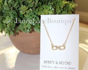 Tiny Infinity necklace/ Bridesmaid necklace/ Infinity pendant/ Friendship necklace/ Bridesmaid jewelry/ Birthday necklace/ Eternity necklace