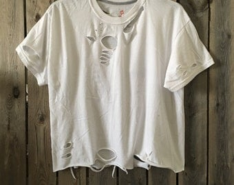 White, distressed t shirt,size medium destroyed  tee, soft grunge, distressed, super soft