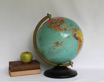 "Vintage 1940s Replogle 12"" World Reference Globe on Metal Stand, Replogle Table Top World Globe"