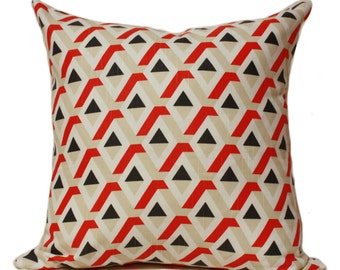 Diamond pattern pillow cover, red pillow, triangle pillow, geometric pillow, mid-century pillow case, modern pillow, 3d pillow