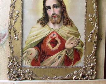 Beautifully Framed Hard To Find Depiction Of The Sacred Heart Of Jesus. Framed Religious Art. Large Size.