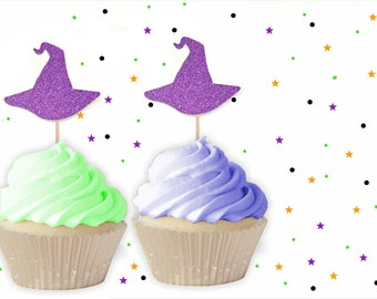 12 Purple Witch Hat Cupcake Toppers -  Halloween Cupcake Toppers, Halloween Party, Halloween Decorations, Witch Party