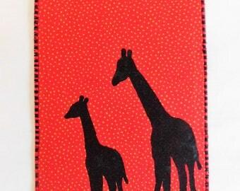 Two Giraffes Fabric Postcard