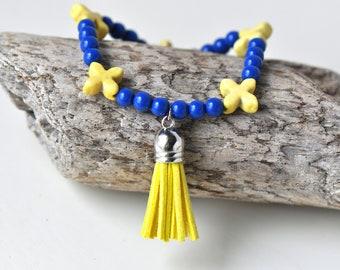 Yellow and Blue Beaded Tassel Bracelet- Yellow Bracelet- Yellow Tassel Bracelet- Royal Blue- Beaded Bracelet- Boho Bracelet- Tassel Bracelet
