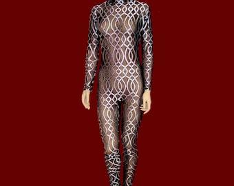 Sheer Black Stretch Mesh with Shiny White Chain Pattern Unitard Catsuit Bodysuit Jumpsuit - Medium Costume Dance