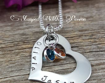 Personalized Name Necklace - Hand Stamped Heart Necklace - Personalized names - Children Necklace - Birthstone Necklace - Mom Jewelry - Mom