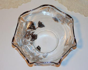Silver Overlay Bowl, Elegant Salad Bowl, Crimped Silver Rim, Sterling Silver Flowers, Silver Poppies, Vintage Serving Bowl, Condiment Bowl