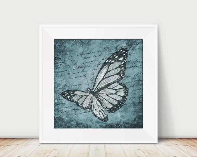 butterfly print, butterfly art, butterfly wall decor, vintage butterfly, butterfly wall art, blue butterfly, blue print, shabby butterfly