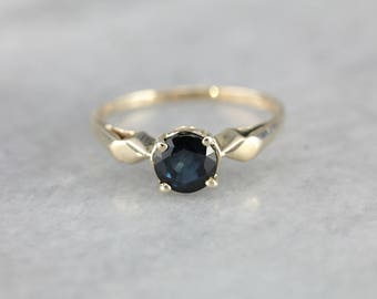Midnight Blue Sapphire Solitaire Engagement Ring 595VCR-N