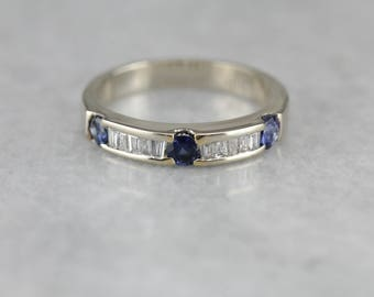 Baguette Diamond and Sapphire Band, Wedding Band, Stacking Band  NUF494-N