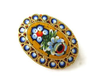 Italian Micro Mosaic Pin/Oval Yellow  Micromosaic Brooch/ Blue  Floral Gold Tone  /White Flowers Roped Bezel  Pin