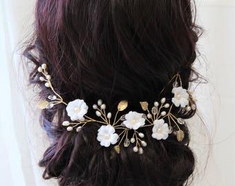 Bridal Hair Vine, Bridal Back Headpiece, Pearl  Hair Vine, Flower Headpiece ,   Bridal Headpiece , Wedding  Flower Hair Vine , UK