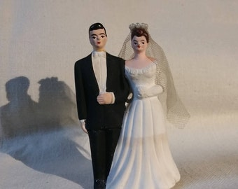 Wedding Cake Topper Vintage Chalkware Couple Bride and Groom 1940s 1950s