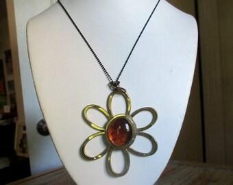 Rafael Alfandary Canada Big Brutalist Modernist Daisy Flower Pendant Amber Glass