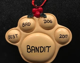 Dog Paw Personalized Christmas Ornaments / Paw Print Pet Ornament / Dog Lover / Pet Lover