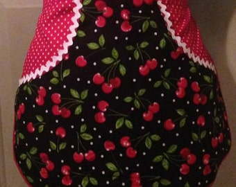 Cherry Delight - Clothespin Apron, Gathering Apron, Farmhouse Classic