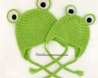 Frog Crochet Earflap Hat